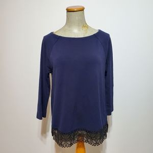 Loft by Ann Taylor blue 3/4 sleeve lace bottom top